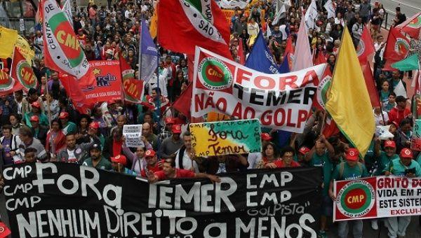 Brazilian demonstrators demand resignation of Temer