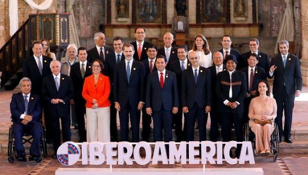 Ibero-American leaders pose for a group photo during the XXVI Ibero-American Summit in Antigua Guatemala