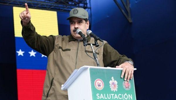 President Nicolas Maduro addresses the Venezuelan army.