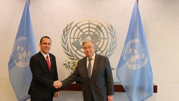 Venezuelan Foreign Affairs Minister Jorge Arreaza met with UN Secretary-General Antonio Guterres to strengthen ties.