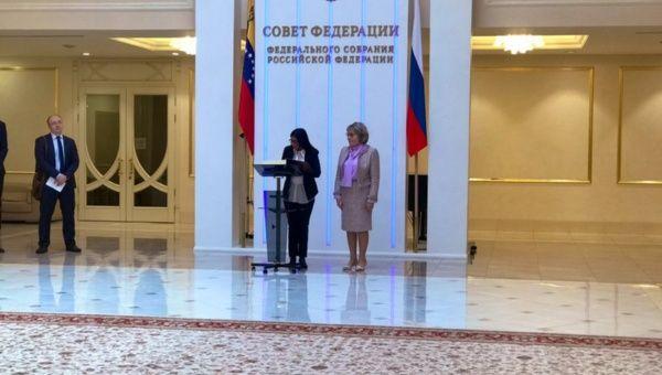 Venezuelan Vice President Delcy Rodrigues meets Russian Senate President