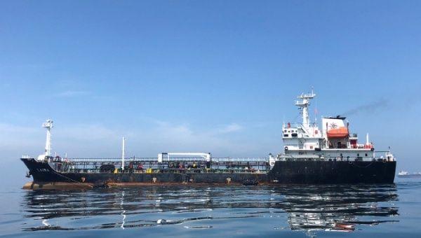 An oil tanker is seen in the sea outside the Puerto La Cruz oil refinery in Puerto La Cruz, Venezuela.