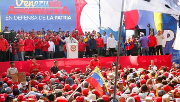 President Nicolas Maduro addresses the anti-imperialist march in Caracas, April 06, 2019