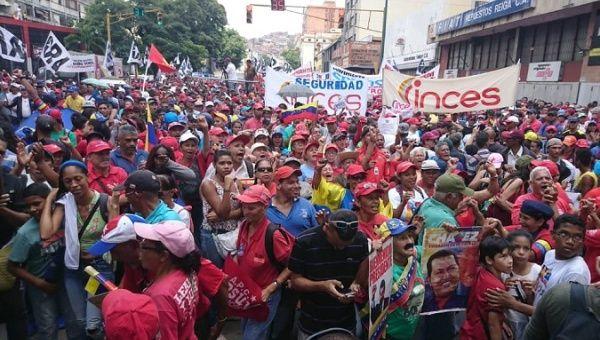"The Venezuelan people celebrate the ""day of the militia"" in Caracas, Venezuela, April 13, 2019."