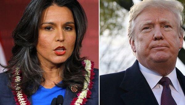 (L) Rep. Tulsi Gabbard (D-Hawaii) (R) U.S. President Donald Trump