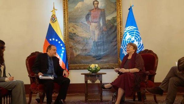 Michele Bachelet meeting Venezuela's Ombudsman Alfredo Ruiz
