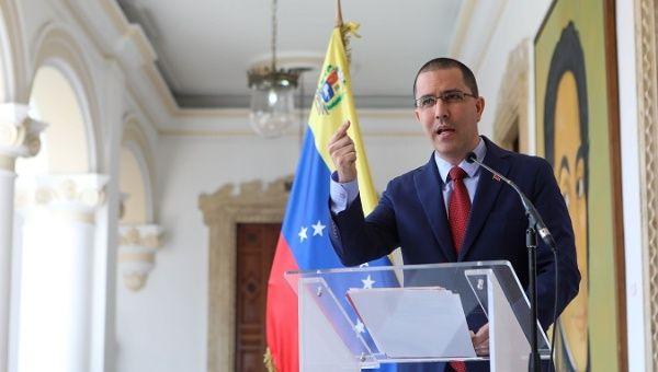 Foreign Minister Jorge Arreaza at La Casa Amarilla in Caracas, Venezuela, January 12, 2019.