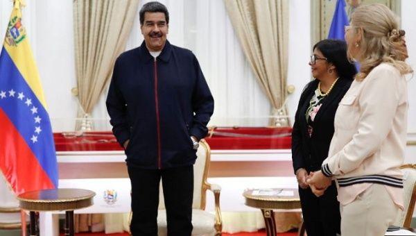 Venezuela's President Nicolas Maduro, Venezuela's First Lady Cilia Flores and Venezuela's Vice President Delcy Rodriguez