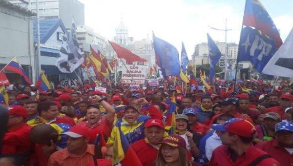 Venezuelan's march against the U.S blockade
