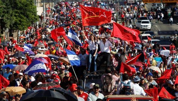 Former president Manuel Zelaya in a march against President Juan Orlando Hernandez in Tegucigalpa, Honduras August 9, 2019.