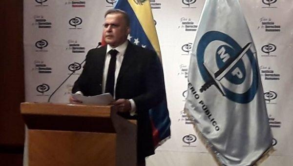 Attorney General Tarek Saab at a press conference in Caracas, Venezuela, Sep. 6, 2019.