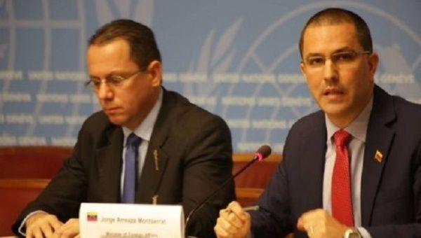 Venezuelan FM Jorge Arreaza speaks during a press conference at the U.N. Human Rights Council.