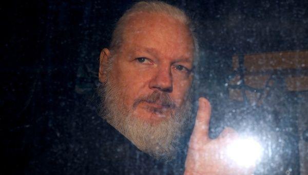 WikiLeaks founder Julian Assange is seen as he leaves a police station in London, Britain April 11, 2019.