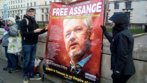 Protest for Julian Assange at Downing Street, London, U.K, Dec 14, 2019.