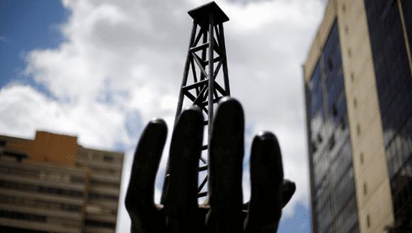 A sculpture is seen outside a building of Venezuela's state oil company PDVSA in Caracas, Venezuela June 14, 2016.