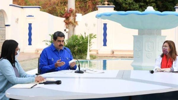 President Nicolas Maduro during a television broadcast, Caracas, Venezuela, April 15, 2020.