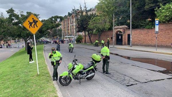 Protests and blockades on 7th Avenue. Usaquen, Bogota, Colombia. April 30th.