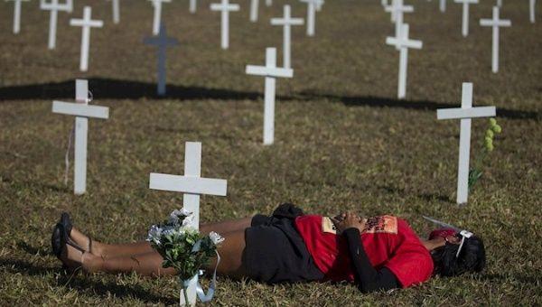Crosses installed in tribute to the victims of COVID-19, Brasilia, Brazil, June 28.