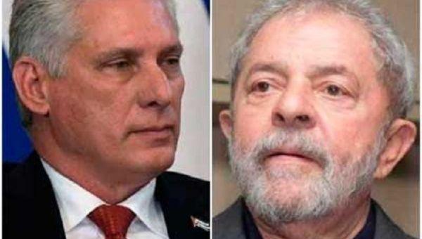 President of Cuba Miguel Díaz-Canel and former President of Brazil Luiz Inacio Lula da Silva