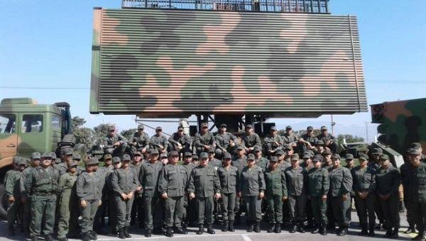 Ceofanb members in front of a Chinese radar, Aragua, Venezuela, October 29, 2019.