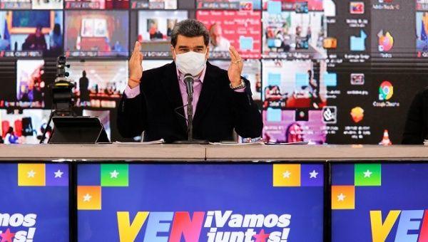 President Nicolas Maduro at a political event, Caracas, Venezuela, Sept. 8, 2020.