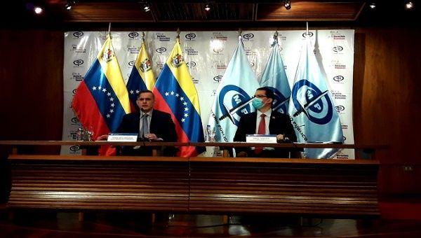 Minister of Foreign Affairs Jorge Arreaza (L) and Attorney General Tarek William Saab (R), Caracas, Venezuela, Sept. 19, 2020.