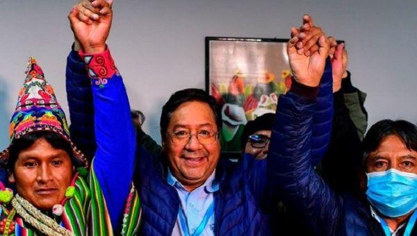 Socialist leader Luis Arce (C), Bolivia, 2020.