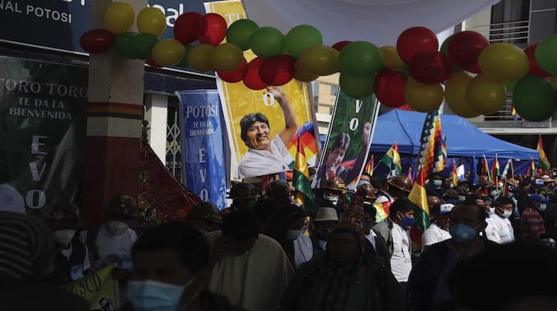 supporters await for Evo Morales to cross the border, Villazon, Bolivia, Nov. 9, 2020.