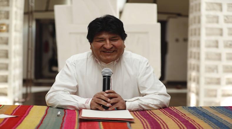 Evo Morales speaks during a press conference in Uyuni, Bolivia, Nov. 10, 2020