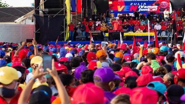 Thousands of people attend the United Socialist Party of Venezuela rally, Zulia, Venezuela, Nov. 30, 2020.