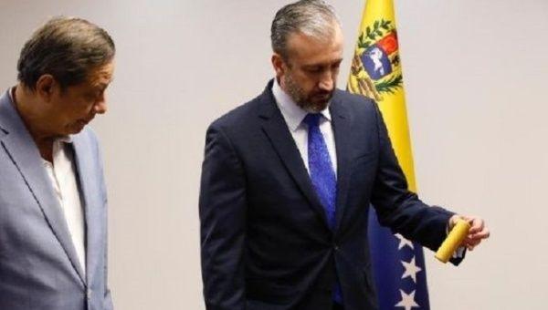 Oil Minister Tareck El Aissami displays explosive material seized from terrorists, Caracas, Venezuela, Dec. 11, 2020.