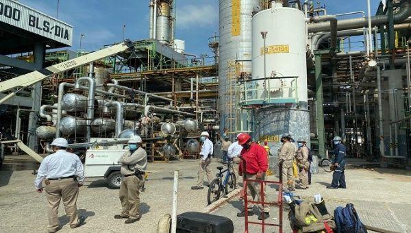 Workers at Salamanca's refinery, Guanajuato, Mexico, Jul. 15, 2020.