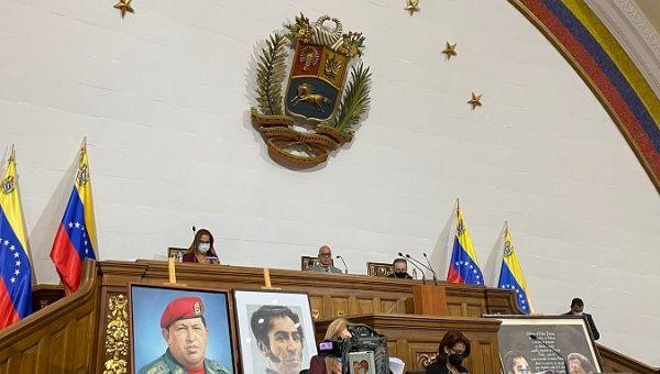 Parliament Directors Board's President Diosdado Cabello (C) presides over the first legislative session, Dec. 7, 2021.