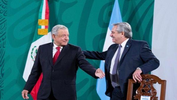 Presidents Andres Manuel Lopez Obrador (L) and Alberto Fernandez (R), Mexico DF, Mexico, Feb. 23, 2021.