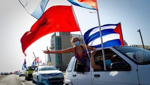 Caravan against the blockade crossing in front of the U.S. embassy in Havana, Cuba, March 28, 2021.