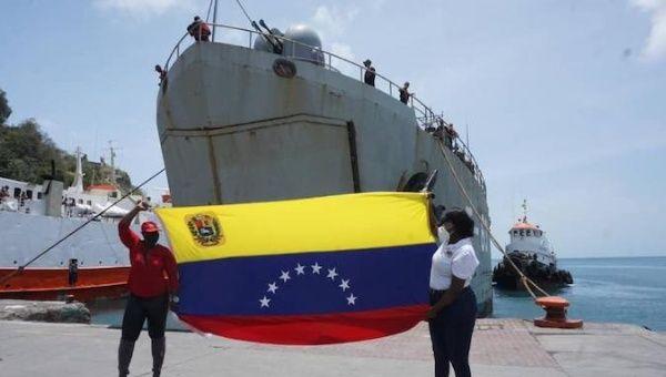 Venezuelan ship docked in port of St. Vincent and the Grenadines, April 12, 2021.