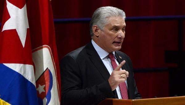 President Miguel Diaz-Canel speaks to VIII Communist Party Congress' delegates, Havana, Cuba, Apr. 19, 2021.
