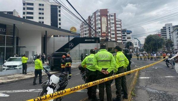Police collect evidence at the Harrison Salgado crime scene, Quito, Ecuador, April 28, 2021.