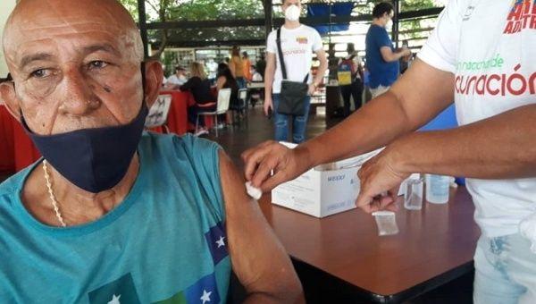 Man receives a dose of Abdala vaccine, Venezuela, June 29, 2021.