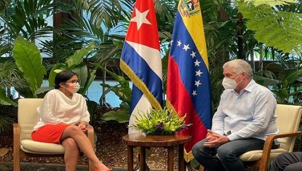 President Miguel Diaz-Canel (R) and Vice President Delcy Rodriguez (L), Havana, Cuba, Jul. 17, 2021.