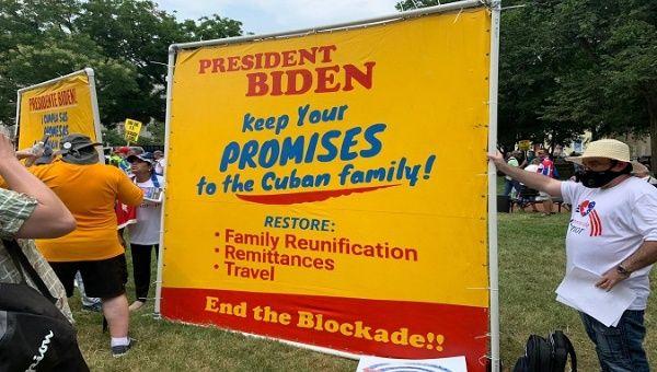 Solidarity Groups with Cuba gather in Washington DC, Jul. 25, 2021.