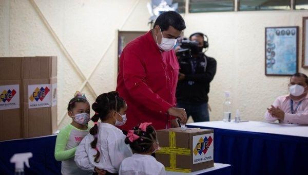 President Nicolas Maduro casts his vote, Caracas, Venezuela, Aug. 8, 2021.