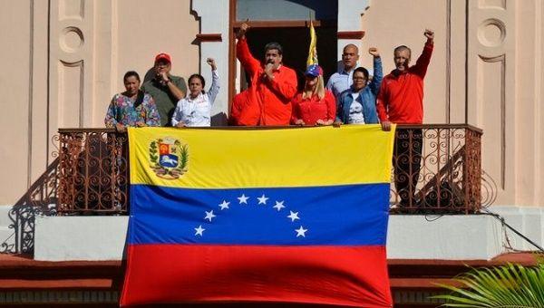 President Nicolas Maduro (C), Venezuela.